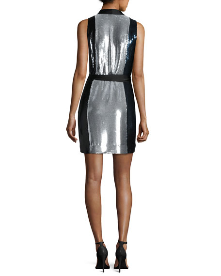 Sleeveless Sequined Wrap Dress, Black/Navy/Silver