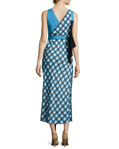 Asymmetric Ruffle Midi Dress, Blue