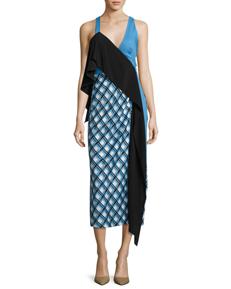 Diane von Furstenberg Asymmetric Ruffle Midi Dress, Blue