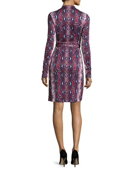 Jeannae Snake-Print Silk Wrap Dress, Multicolor