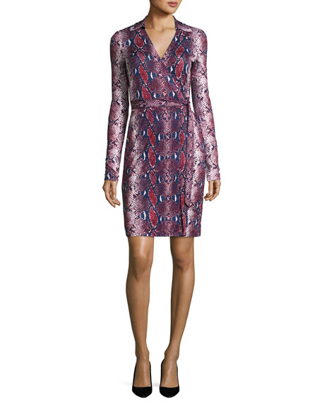 Jeannae Snake-Print Silk Wrap Dress, Multicolor