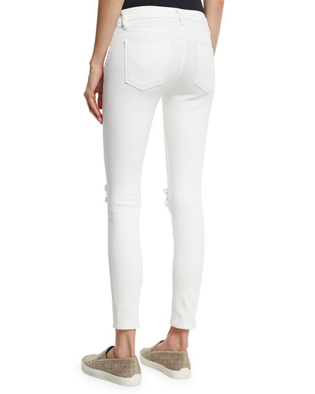 Roe Mid-Rise Super Skinny Ankle Jeans with Ripped Knees, Strife 2