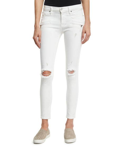 Hudson Roe Mid-Rise Super Skinny Ankle Jeans with