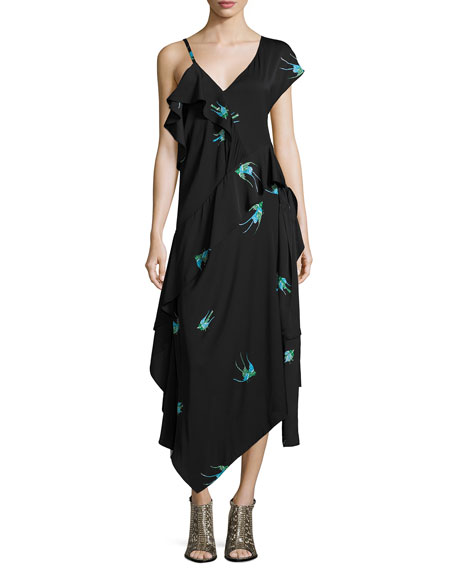 Bird-Print Asymmetric Silk Jersey Ruffle Dress, Black