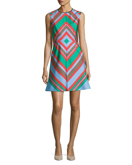 Diamond Tailored A-Line Dress, Multicolor