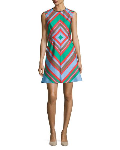 Diane von Furstenberg Diamond Tailored A-Line Dress, Multicolor