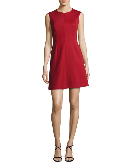Tailored Sleeveless A-Line Dress, Red