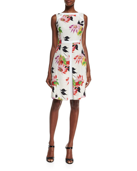 Etro Blossom Pleated Sheath Dress, White