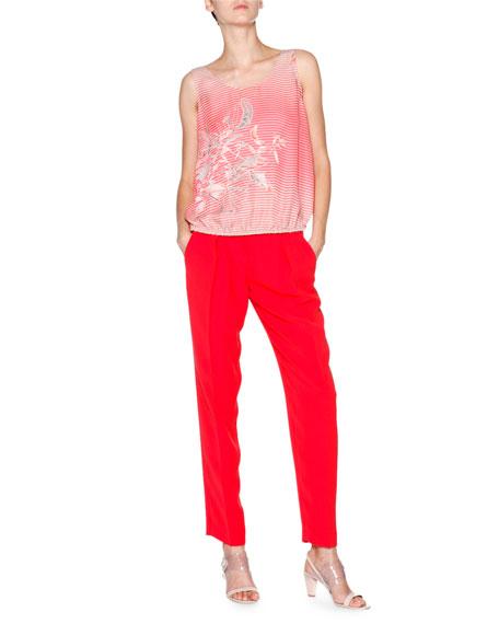 Slim-Leg Silk-Cady Pants, Scarlet