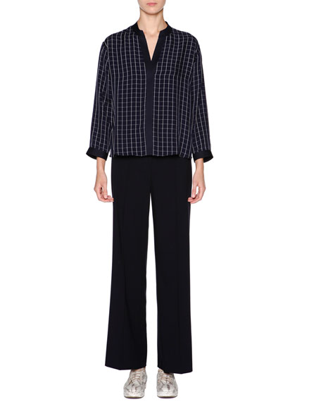 Giorgio Armani Split-Neck Square-Print Blouse, Navy