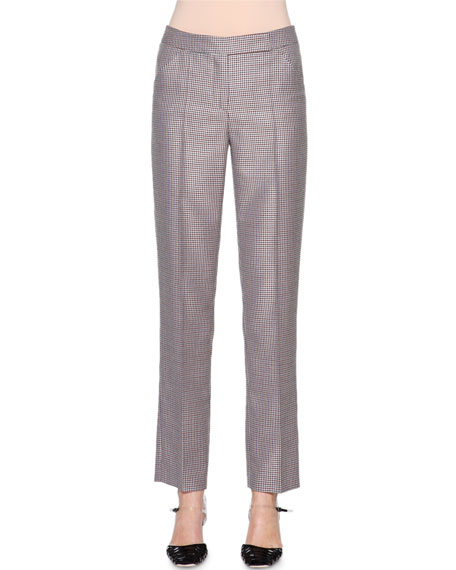 Giorgio Armani Mini-Houndstooth Narrow-Leg Trousers, Multi Check