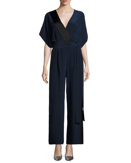 Diane von Furstenberg Faux-Wrap Silk Kimono Jumpsuit, Blue