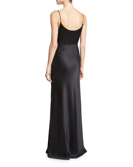 Satin Cowl-Neck Sleeveless Gown, Black