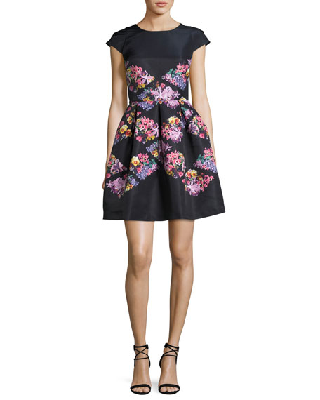 Girly Lost Gardens Floral-Print Fit & Flare Dress, Black