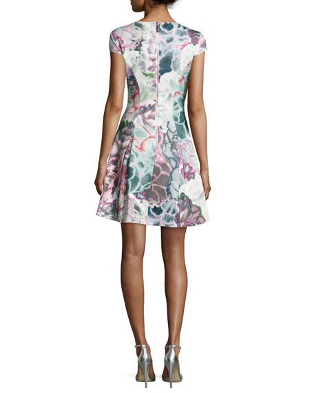 Mah Illuminated Bloom Floral-Print Fit & Flare Dress, Purple