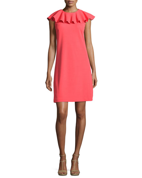 Sontie Frill-Collar Shift Dress, Coral