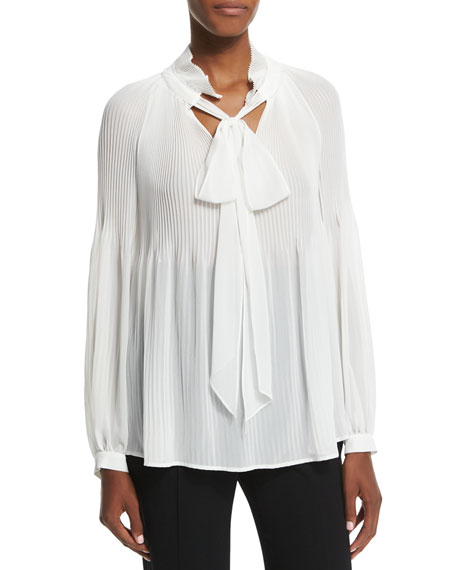 Escada Victorian-Sleeve Plisse Tie-Neck Blouse, Off White