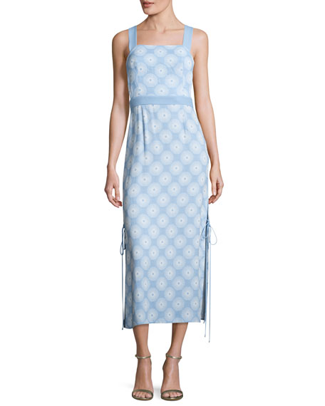 Diane von Furstenberg Sleeveless Tie-Side Printed Midi Dress,