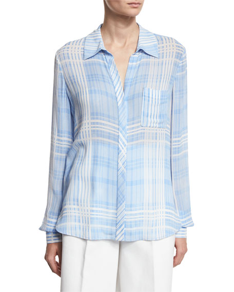 Diane von Furstenberg Carter Plaid Long-Sleeve Shirt, Blue