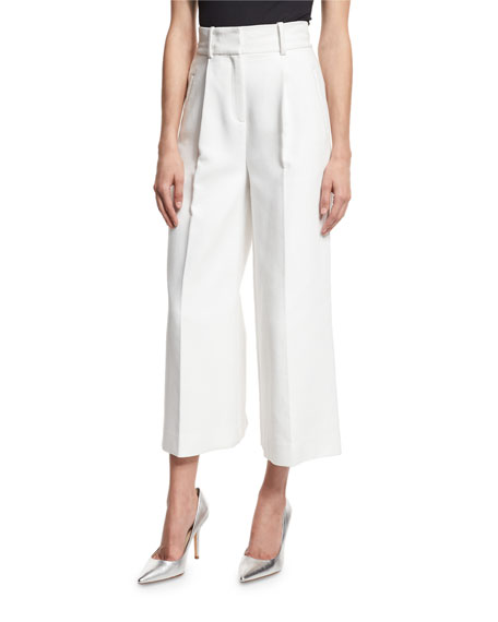 Diane von Furstenberg High-Waist Single-Pleat Culottes, White