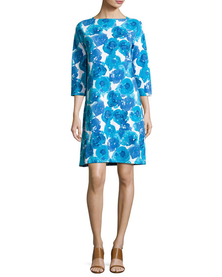 3/4-Sleeve Floral-Print Shift Dress