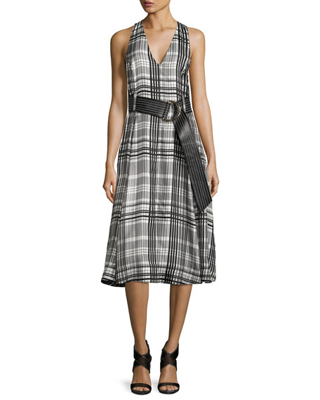 Diane von Furstenberg Sleeveless Belted Flared Midi Dress,