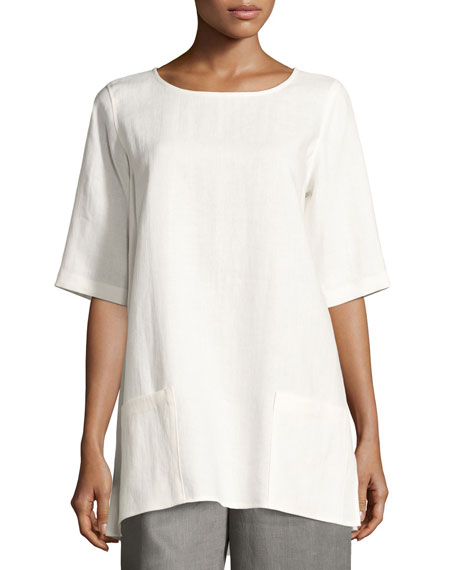 Caroline Rose Half-Sleeve Two-Pocket Linen Tunic, Plus Size