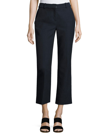 Rebecca Taylor Slub Cropped Straight-Leg Suiting Pants, Navy