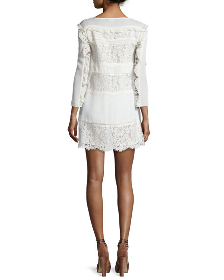 Sasha Ruffle-Trim Paneled-Lace Day Dress, Ecru