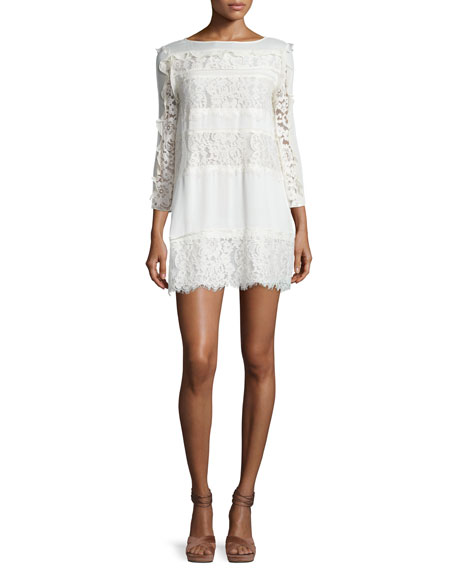 Rachel Zoe Sasha Ruffle-Trim Paneled-Lace Day Dress, Ecru