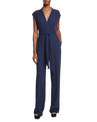 Wide-Leg Self-Belt Jumpsuit, Indigo
