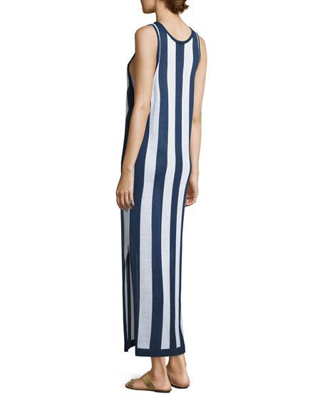 Sleeveless Striped Maxi Coverup Dress, Navy/White