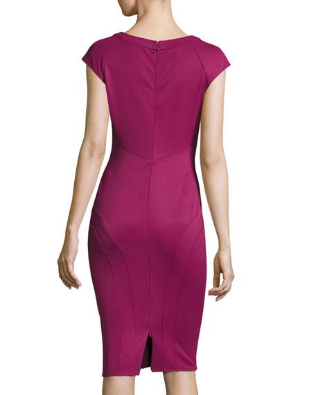 Joni Cutout Ponte Sheath Dress, Sangria