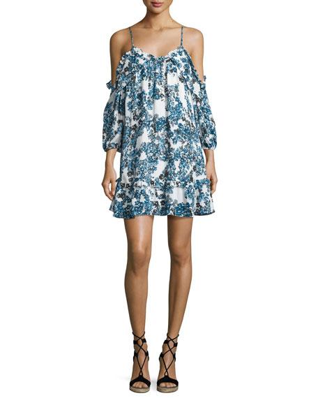 Parker Aidrian Floral-Print Cold-Shoulder Shift Dress, Bluebonnet