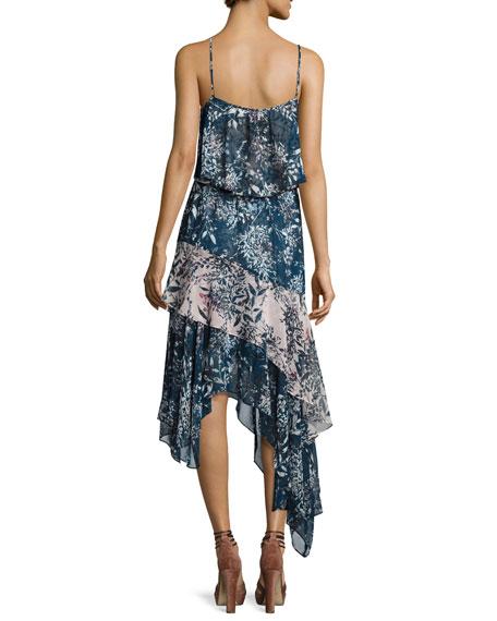 Reuben Mixed-Print Handkerchief-Hem Slip Dress, Multicolor