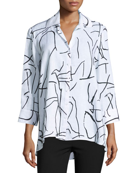 3/4-Sleeve Graffiti-Print Trapeze Top, White/Black, Plus Size