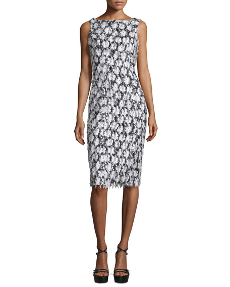 Michael Kors Collection Sleeveless Floral-Embellished Sheath