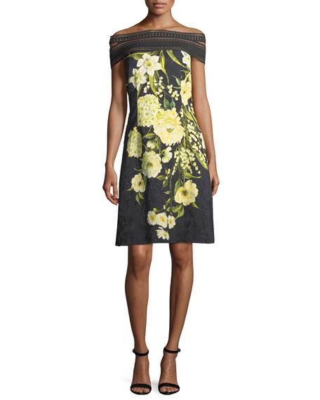 Naeem Khan Off-the-Shoulder Lace-Trim Floral Dress, Black/Yellow