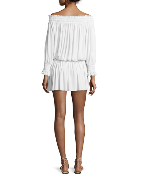 Norma Kamali Peasant Jersey Blouson Mini Dress, Ivory