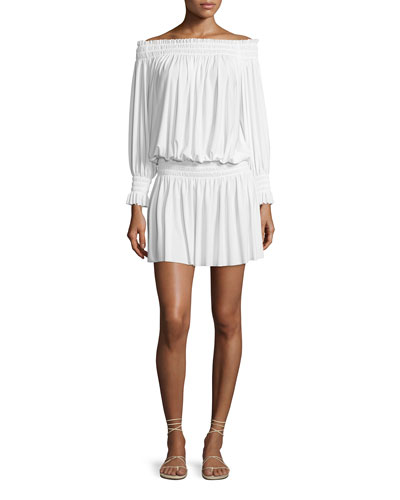 Peasant Jersey Blouson Mini Dress, Ivory