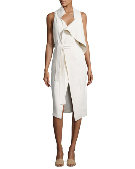 Halston Heritage Asymmetric Sleeveless Mock-Neck Draped Dress w/