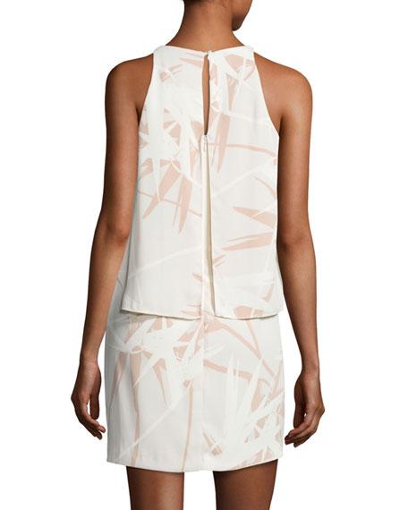 Sleeveless Round-Neck Printed Tiered Dress, Multi