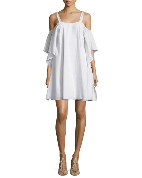 Halston Heritage Flowy Short-Sleeve Cold-Shoulder Trapeze Dress,