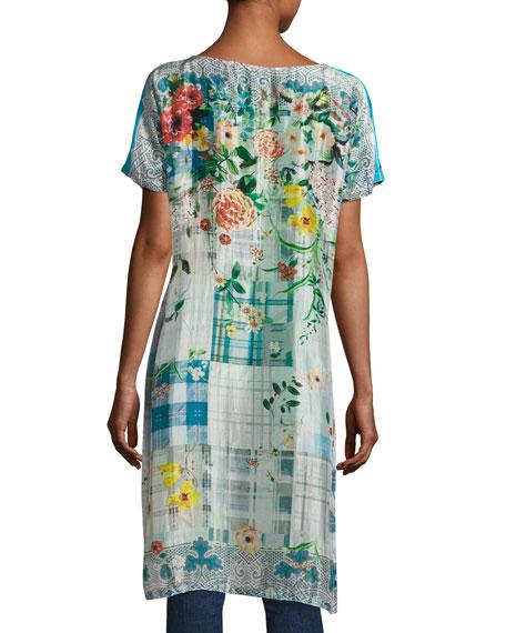 Plaid Silk-Georgette Long Tunic, Petite