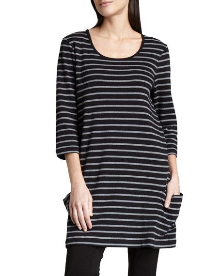 Joan Vass Petite Striped Knit Tunic