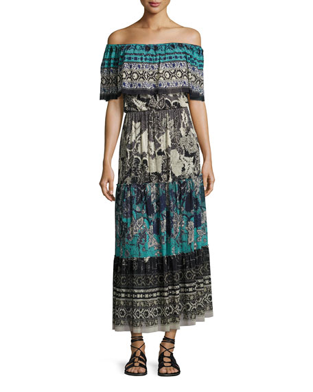 Fuzzi Ruffled Off-the-Shoulder Patchwork Maxi Dress, Black