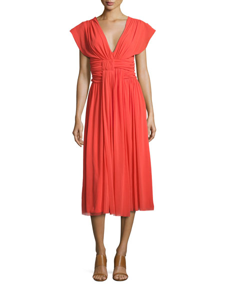 Fuzzi V-Neck Ruched-Waist Tulle Midi Dress, Coral