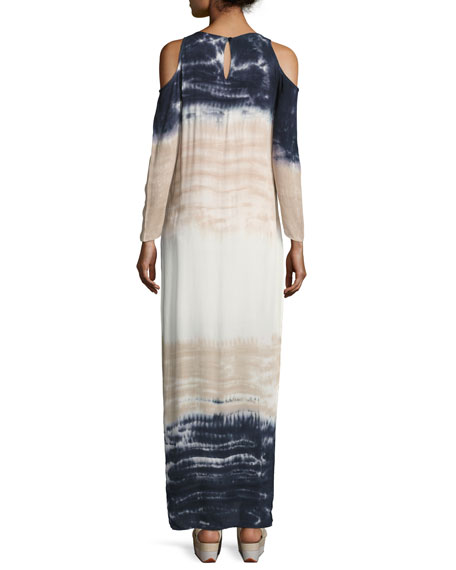 Mischa Tie-Dye Ombré Cold-Shoulder Maxi Dress