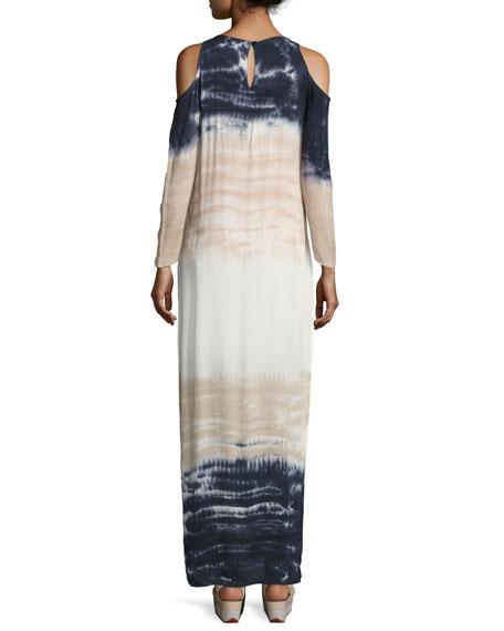 Mischa Tie-Dye Ombré Cold-Shoulder Maxi Dress