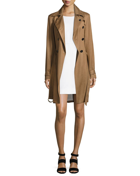 Hutton Double-Breasted Twill Trench Dress, Khaki